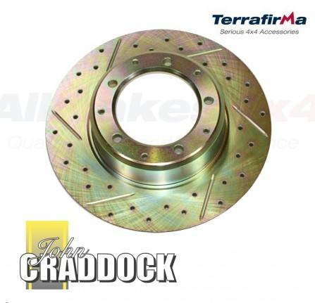 LR017953CDG: Terrafirma Brake Discs X2 Rear Cross Drilled & Grooved Discovery 1 & Range Rover Classic 1986 on & Defender 90 1990 On.