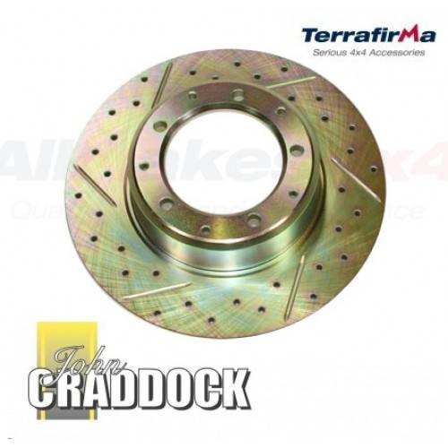 Land Rover Rear Brake Rotor Disc Set Range Discovery I: Terrafirma Brake Discs X2 Rear Cross Drilled