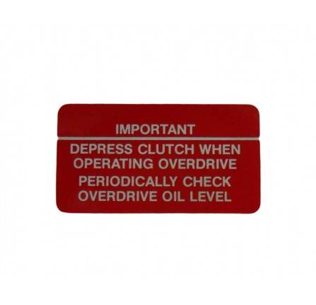 Genuine Fairey Label for Overdrive Depress Clutch Check Oil