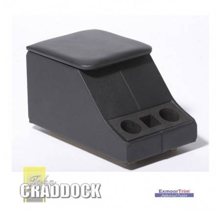 Cubby Box Black Leather Defender with Cup Holder