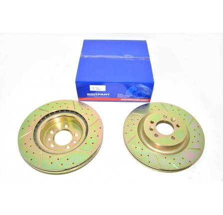 R/R L405 and Sport 2014 on Front Brake Discs Pair Slotted Drilled Vented
