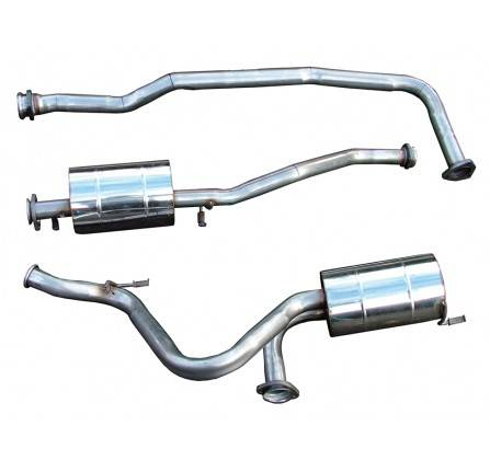 DA4233: Defender 90 300TDI Stainless Steel Exhaust System 1995 - 1997 Front Pipe/Centre Box/Rear Silencer