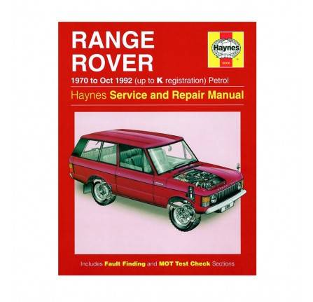 Haynes Workshop Manual Range Rover 1970-92.