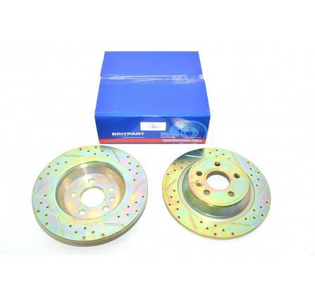 R/R Evoque Rear Brake Disc Pair Grooved Slotted Solid