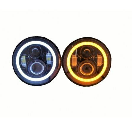 "7"" Led Headlights ( Pair ) with Halo Drl and Amber Indicator"