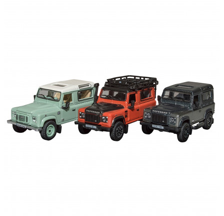 Land Rover Defender Heritage 3 Car Set Die - Cast 1:76 Scale