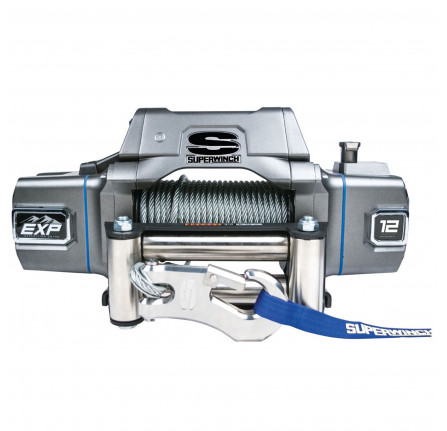 Superwinch EXP12I 12000LBS with Wire Rope & Roller Fairlead Auto Clutch, Heavy-duty, Gearbox End Brake, Picatinny Rails, High Speed Motor, Wirless Ready, 100FT Wire Cable.