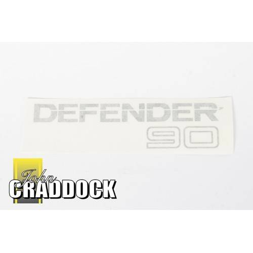 Decal Rear -defender 90- (Light Grey on Clear Background)