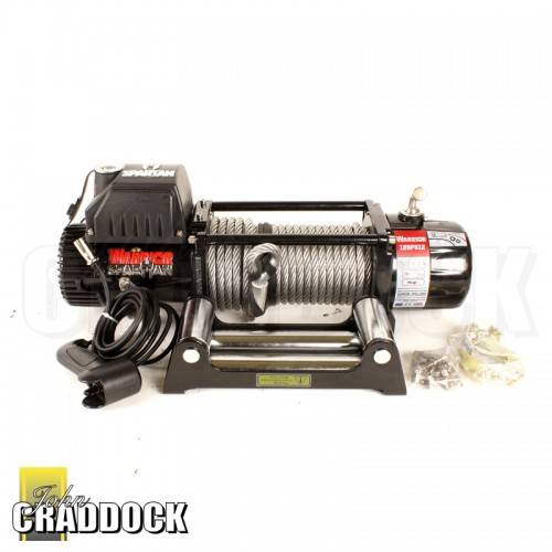 Warrior Spartan 12000 12V Electric Winch Rated 12000LB Inc Galvanised Steel Cable 10.2MMX25M, 3M Wire Handset, H/D Steel Roller Fairlead, H/D Battery Leads, Stainless Steel Fixings, Clevis Hook. Dimensions 580 x 160 x 219mm 4 Pin Plug Lead (WR4P12)