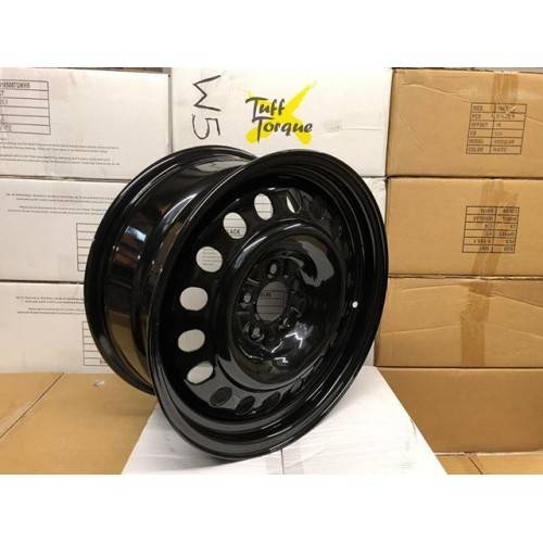 Black Modular Steel Wheel 7X17 Freelander 2 & Evoque +50mm Offset - Wheel  Nuts ( JC220 ) , JC151