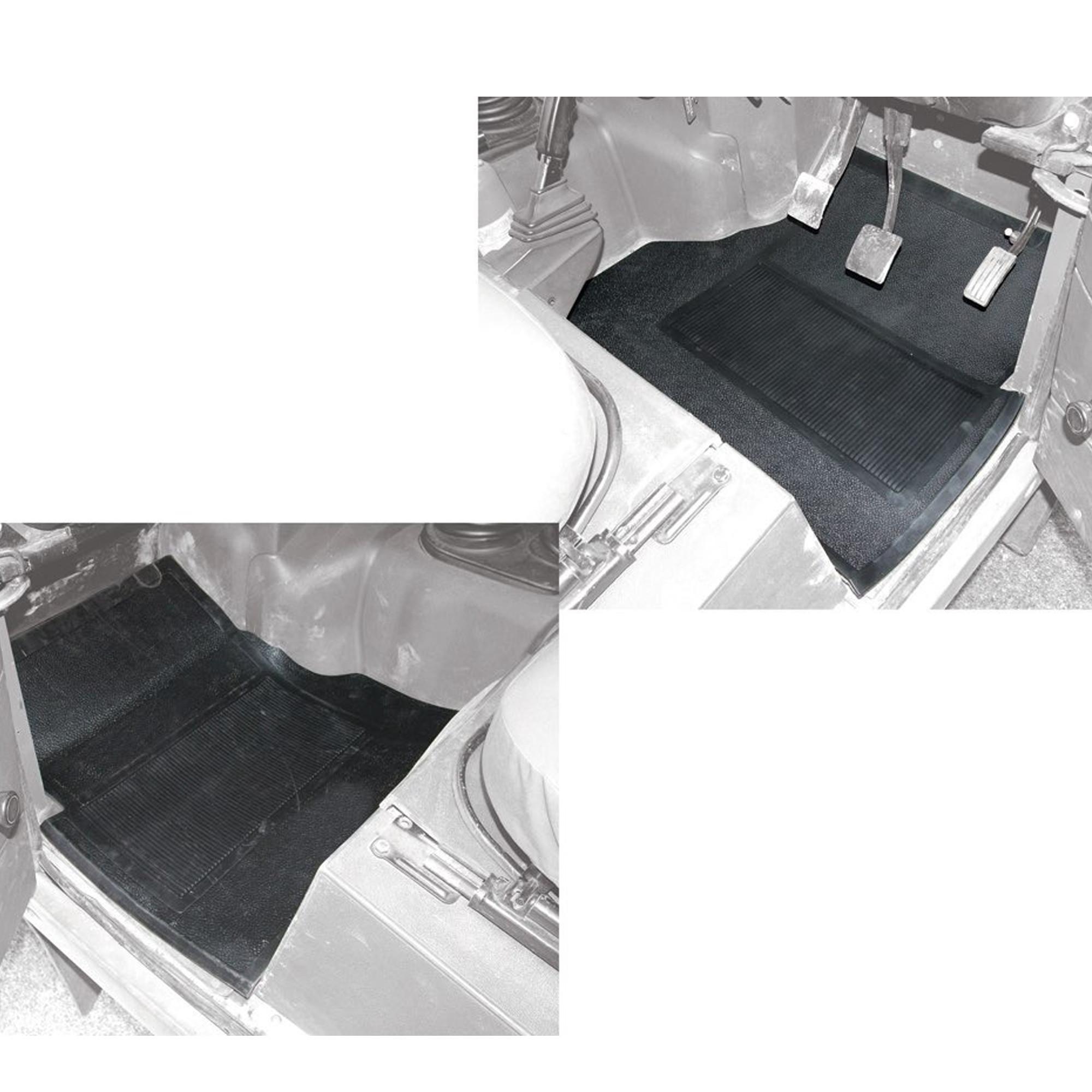 Land Rover Defender TD5 Front Black Rubber Floor Mats DA4423