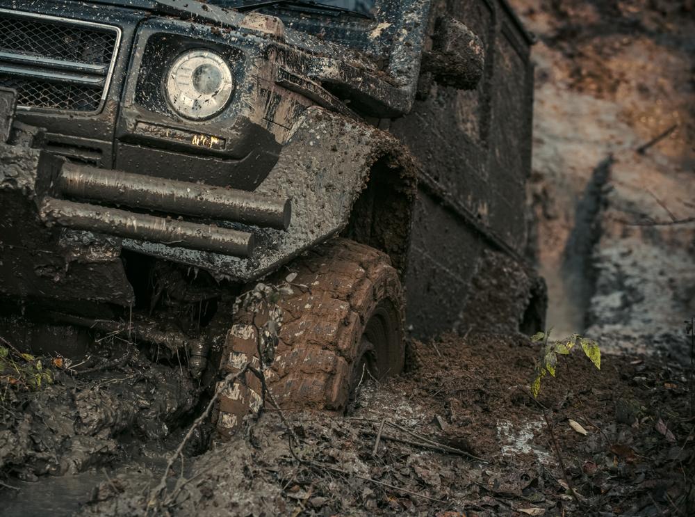 Muddy Land Rover